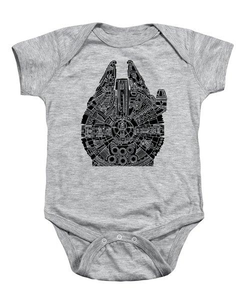 Star Wars Art - Millennium Falcon - Black Baby Onesie