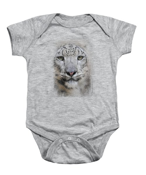 Stare Of The Snow Leopard Baby Onesie by Jai Johnson