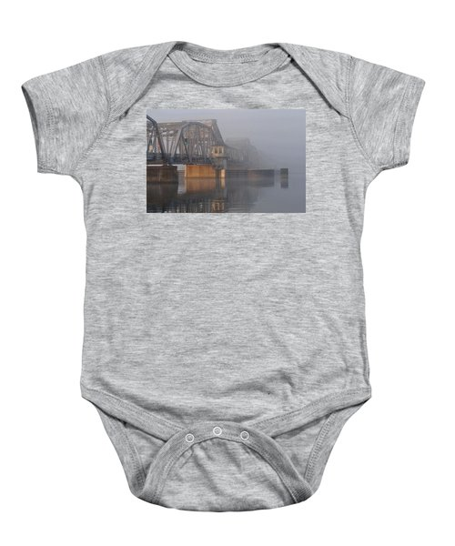 Steel Bridge In Fog Baby Onesie