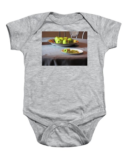 Still Life With Apples And Chair Baby Onesie
