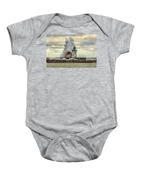 Storm Waves At The Cleveland Lighthouse Baby Onesie