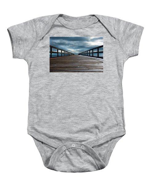 Stormy Pier  Baby Onesie