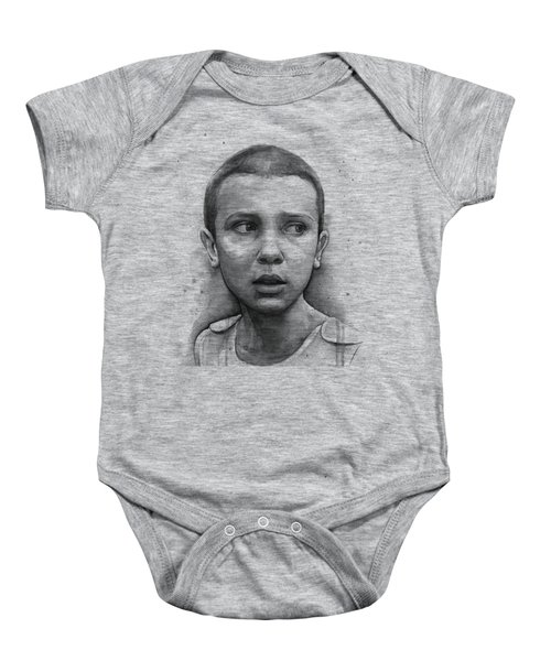 Stranger Things Eleven Upside Down Art Portrait Baby Onesie