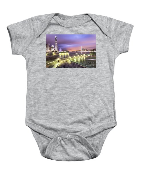 Stunning Night View Of The Famous Hong Kong Island Skyline And V Baby Onesie