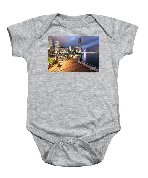 Stunning View Of Hong Kong Central Business District Skyscrapers Baby Onesie