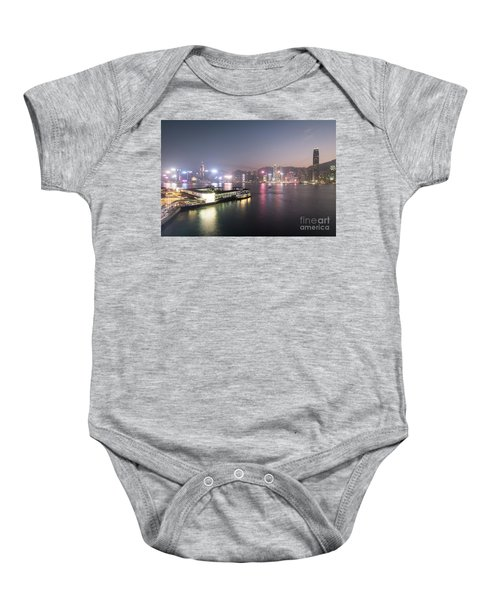 Stunning View Of The Twilight Over The Victoria Harbor And Star  Baby Onesie