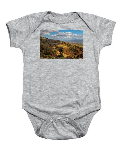 Sun Dappled Mountains Baby Onesie