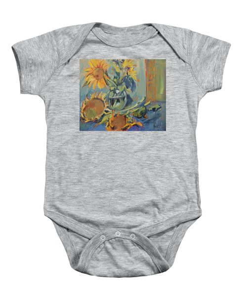Sunflowers Fresh And Dried With Vase Baby Onesie