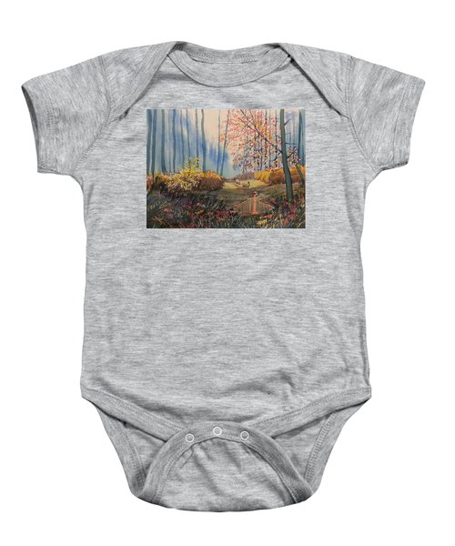 Sunlight And Sheep In Sledmere Woods Baby Onesie