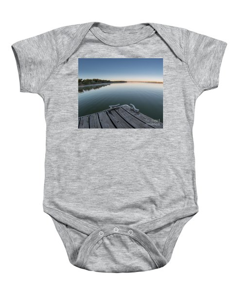Sunrise On A Clear Morning Over Large Lake With Fog On Top, From Baby Onesie