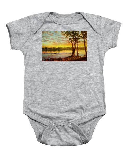 Sunrise On The Columbia Baby Onesie