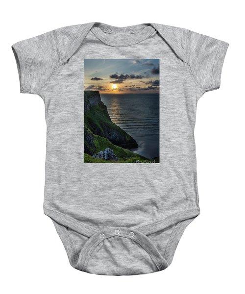 Sunset At Rhossili Bay Baby Onesie