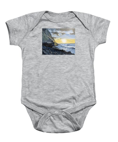 Baby Onesie featuring the painting Sunset At Warren Point Duckpool by Lawrence Dyer
