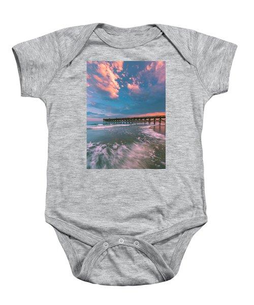 Sunset At Wilmington Crystal Pier In North Carolina Baby Onesie
