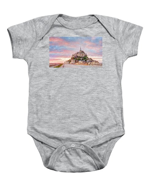 Sunset In Mont Saint Michel Baby Onesie