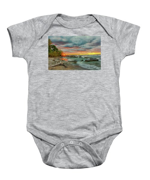 Sunset In Rocky River, Ohio Baby Onesie