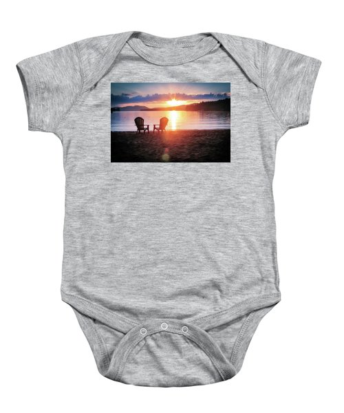 Sunset On Fourth Lake Baby Onesie