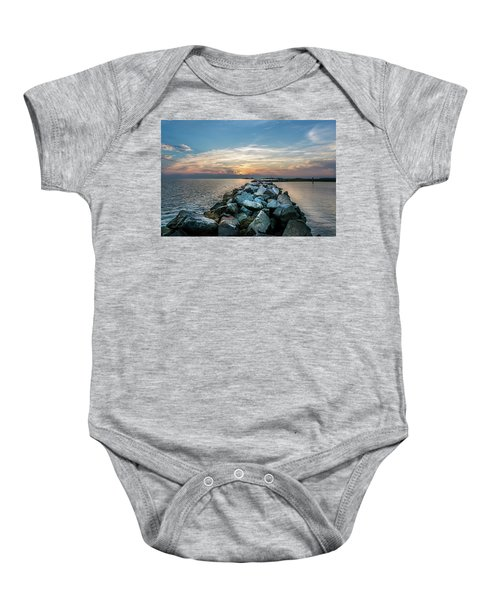 Sunset Over A Rock Jetty On The Chesapeake Bay Baby Onesie
