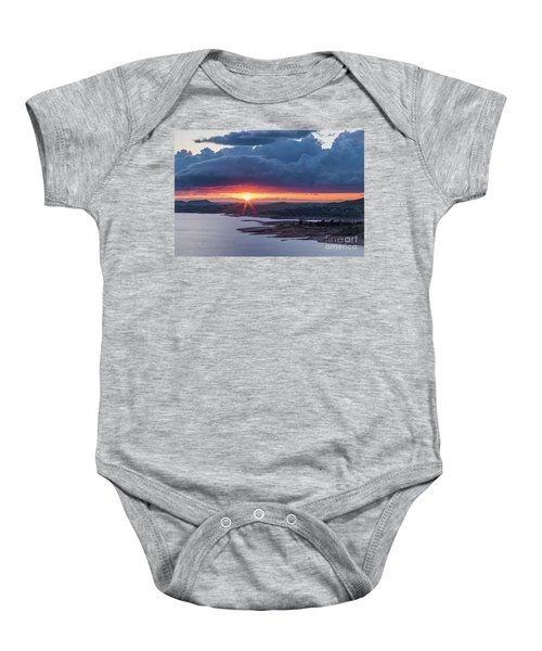 Baby Onesie featuring the photograph Sunset Over Millerton Lake  by Vincent Bonafede