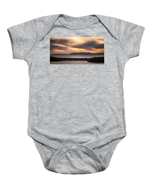 Baby Onesie featuring the photograph Sunset Over St. John And St. Thomas Panoramic by Adam Romanowicz