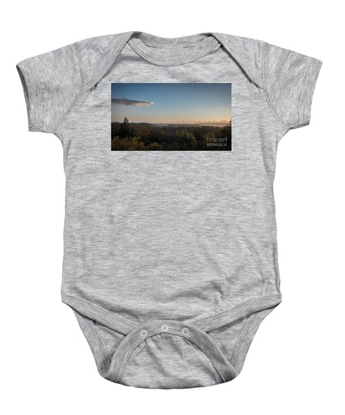 Sunset Over Top Of Dense Forest Baby Onesie