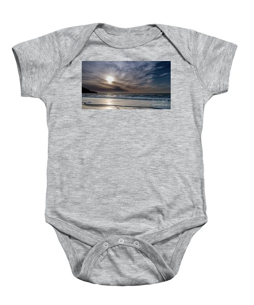 Sunset Over West Coast Beach With Silk Clouds In The Sky Baby Onesie