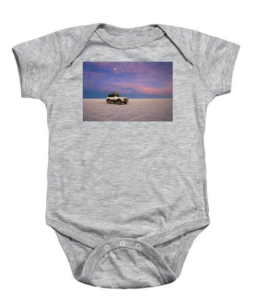 Lake Uyuni Sunset With Car Baby Onesie