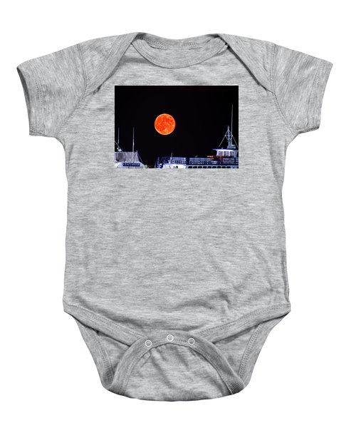 Baby Onesie featuring the photograph Super Moon Over Crazy Sister Marina by Bill Barber