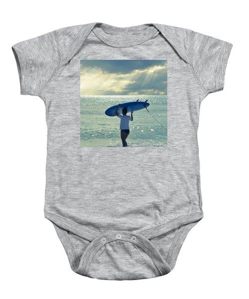 Surfer Girl Square Baby Onesie