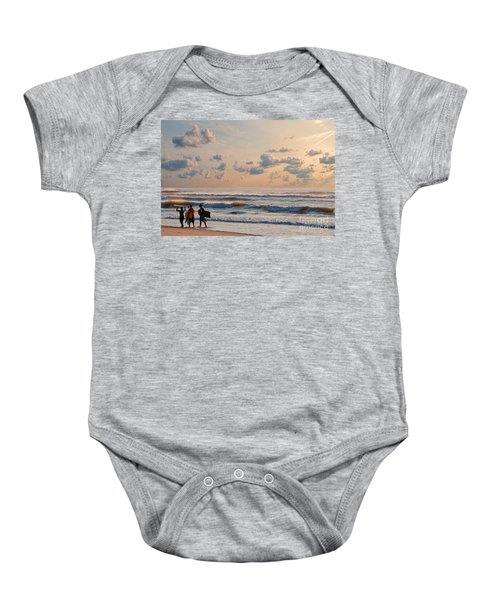 Surfing At Sunrise On The Jersey Shore Baby Onesie
