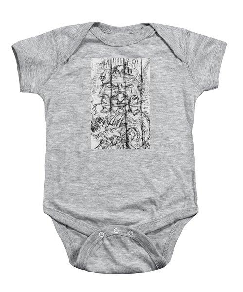 Surreal Sketch On Note Baby Onesie