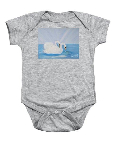 Swans On Open Water Baby Onesie
