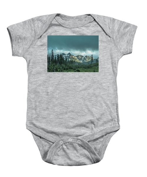 Tatoosh With Storm Clouds Baby Onesie