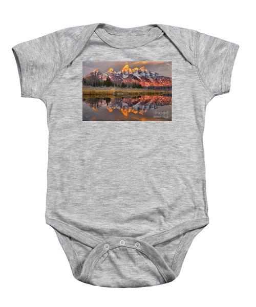 Teton Mountains Sunrise Rainbow Baby Onesie