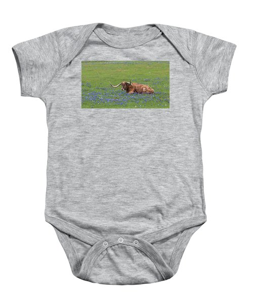 Texas Longhorn And Bluebonnets Baby Onesie