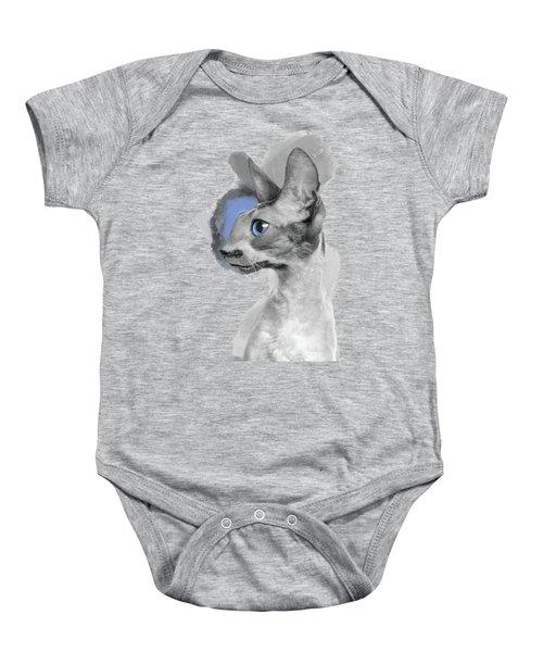 That Gorgeous Gray Blue-eyed Cornish Rex In Profile Baby Onesie