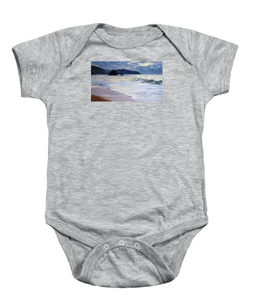 Baby Onesie featuring the painting The Black Rock Widemouth Bay by Lawrence Dyer