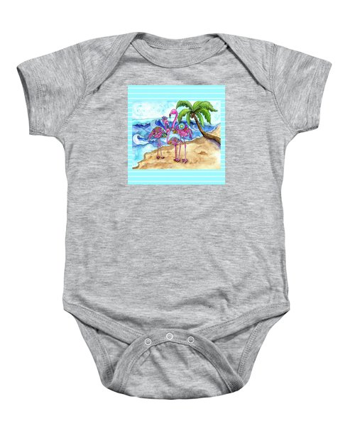 The Flamingo Family's Day At The Beach Baby Onesie