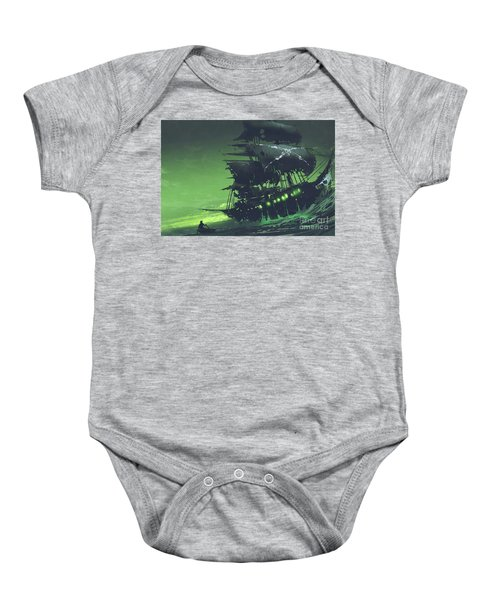 Baby Onesie featuring the painting The Flying Dutchman by Tithi Luadthong