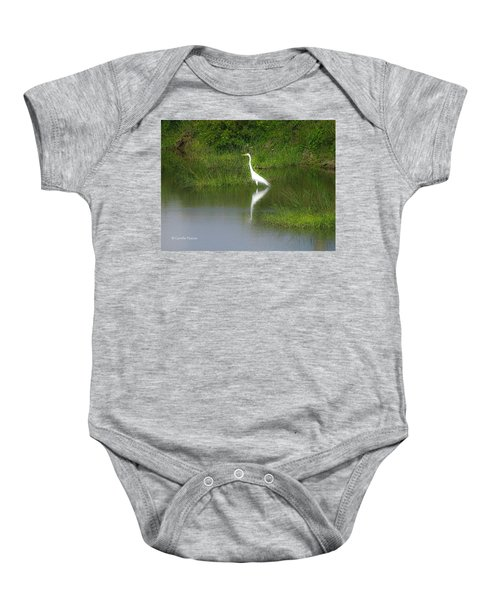 Great Egret By The Waters Edge Baby Onesie