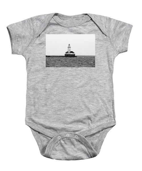 The Lighthouse Black And White Baby Onesie