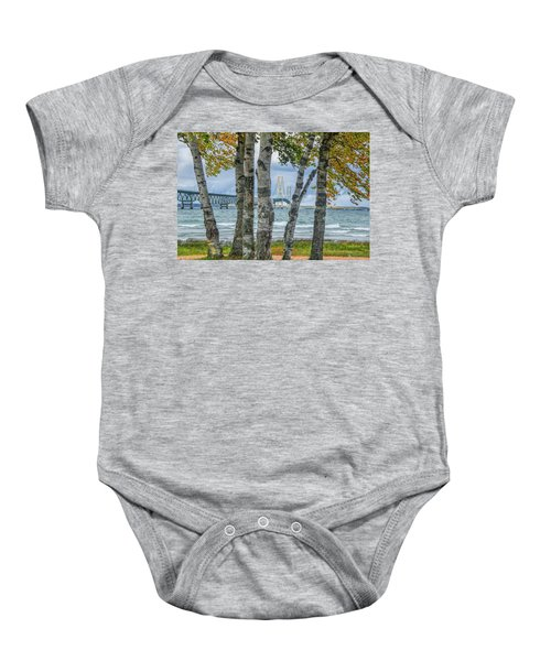 The Mackinaw Bridge By The Straits Of Mackinac In Autumn With Birch Trees Baby Onesie