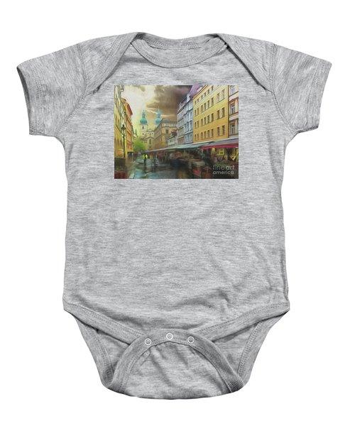 The Market In The Rain Baby Onesie