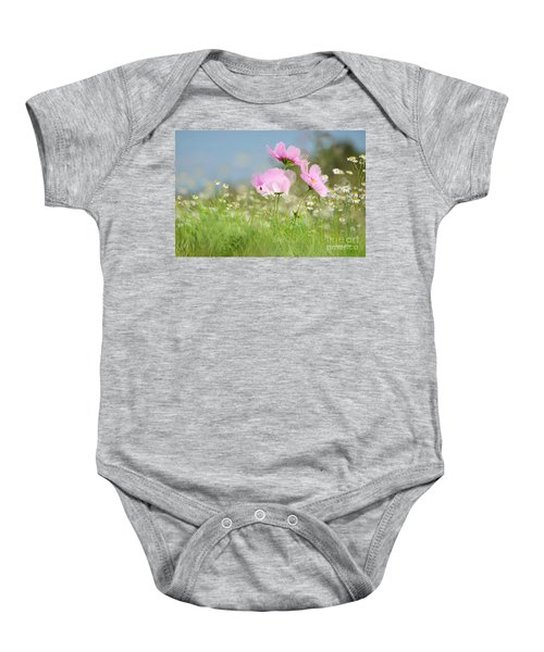 Baby Onesie featuring the mixed media The Meadow by Morag Bates