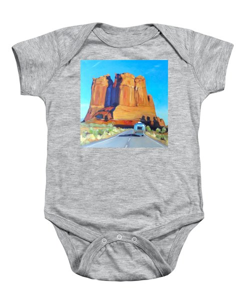 The Shadow Of The Three Gossips Arches Utah Baby Onesie