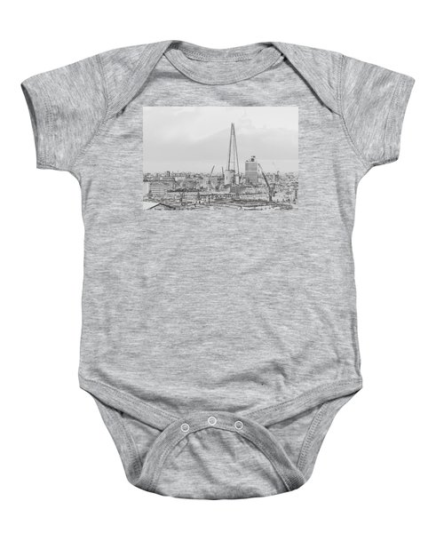 The Shard Outline Poster Bw Baby Onesie