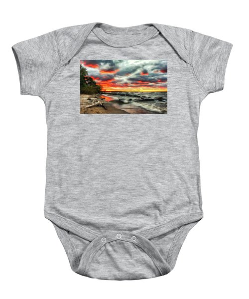 The Sky On Fire At Sunset On Lake Erie Baby Onesie