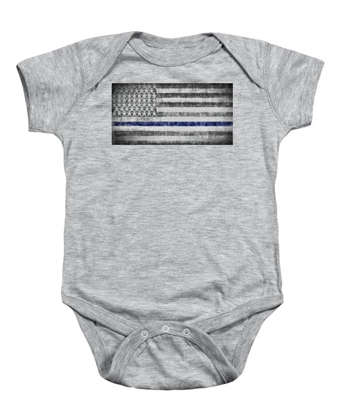 Baby Onesie featuring the digital art The Thin Blue Line American Flag by JC Findley