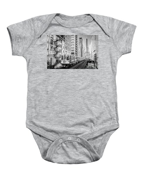 The Wabash L Train In Black And White Baby Onesie