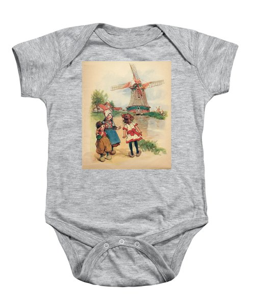 The Windmill And The Little Wooden Shoes Baby Onesie